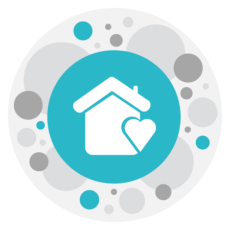 Vector Illustration Of Amour Symbol On Home Icon. Premium Quality Isolated House Element In Trendy Flat Style.