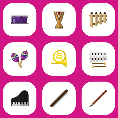 Set Of 9 Editable Sound Flat Icons. Includes Symbols Such As Fife, Oboe, Sticks And More Illustration