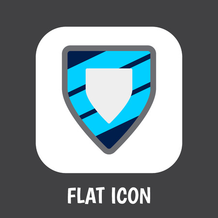 Vector Illustration Of Safety Symbol On Shield Flat Icon. Premium Quality Isolated Protection  Element In Trendy Flat Style.