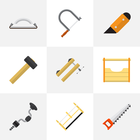 Set Of 9 Editable Equipment Flat Icons. Includes Symbols Such As Boer, Malleus, Knife And More. Can Be Used For Web, Mobile, UI And Infographic Design.