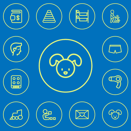 Set Of Editable Folks Outline Icons. Includes Symbols Such As Grandson, Cooker, Dog. Can Be Used For Web, Mobile, UI And Infographic Design.