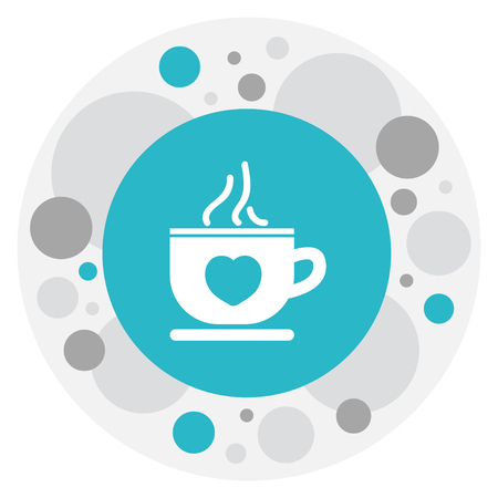 Illustration of heart symbol on tea mug icon.