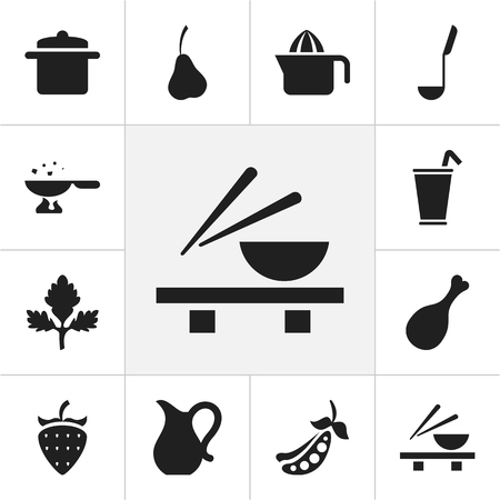 Set Of 12 Editable Meal Icons. Includes Symbols Such As Asian Cusine, Herb, Peas And More Vector Illustration