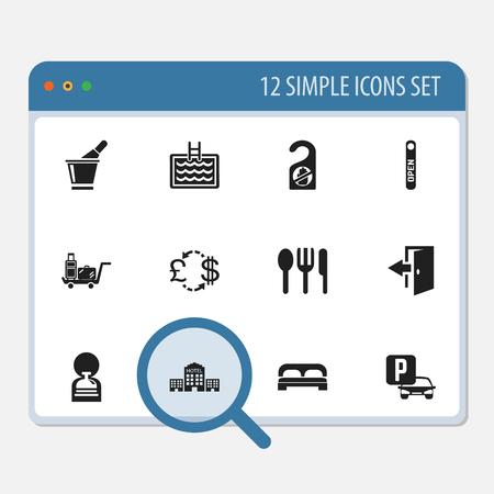 Conjunto de 12 iconos Editable Hotel. Incluye símbolos como conserjería, turismo, restaurante y más Foto de archivo - 88581178
