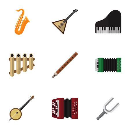 Set Of 9 Editable Multimedia Flat Icons.