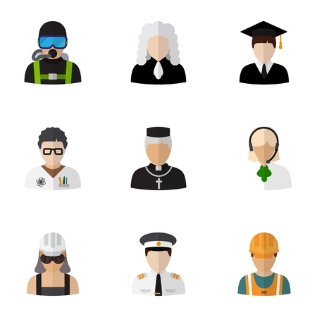 Set Of 9 Editable Occupation Flat Icons