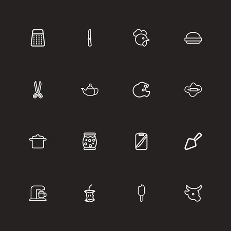 Set Of 16 Editable Meal Outline Icons.