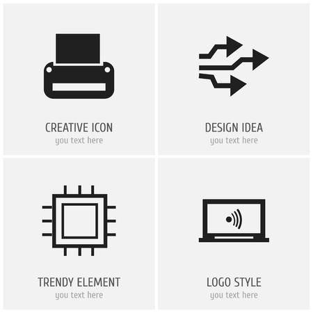 Set Of 4 Editable Computer Icons. Illustration