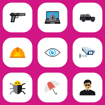 Set Of 9 Editable Security Flat Icons.