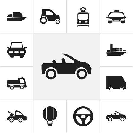 Set of editable transportation icons.