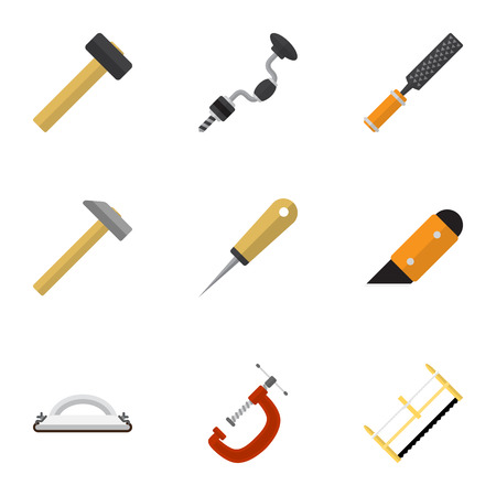 exchanger: Set Of 9 Editable Tools Flat Icons. Includes Symbols Such As Knife, Clinch, Bodkin And More Illustration