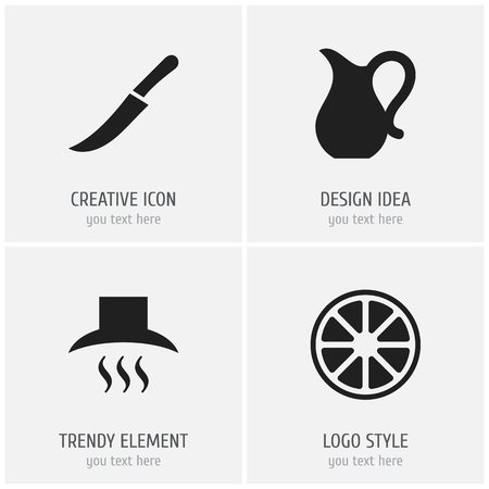 Set Of 4 Editable kitchen icons.