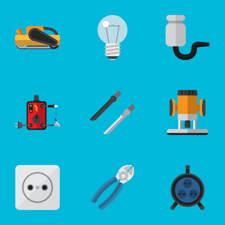 wire cutter: Set of electric tools icons.