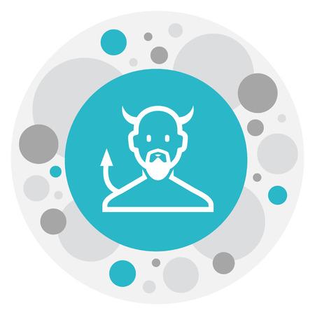 Vector Illustration Of Religion Symbol On Devil Icon. Premium Quality Isolated Satan Element In Trendy Flat Style.