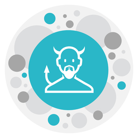 Vector Illustration Of Religion Symbol On Devil Icon. Premium Quality Isolated Satan Element In Trendy Flat Style.