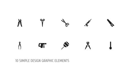 Set Of 10 Editable Instrument Icons. Includes Symbols Such As Sealant, Saw, Excavate And More. Can Be Used For Web, Mobile, UI And Infographic Design.