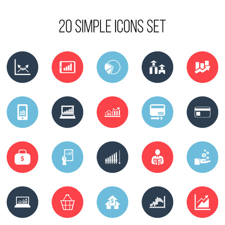 Set Of 20 Editable Analytics Icons. Includes Symbols Such As Upward Direction, Pay Redeem, Pie Graphic And More. Can Be Used For Web, Mobile, UI And Infographic Design.