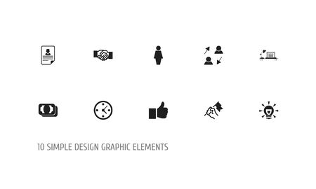 Set Of 10 Editable Job Icons. Includes Symbols Such As Publish, Table, Currency And More. Can Be Used For Web, Mobile, UI And Infographic Design.