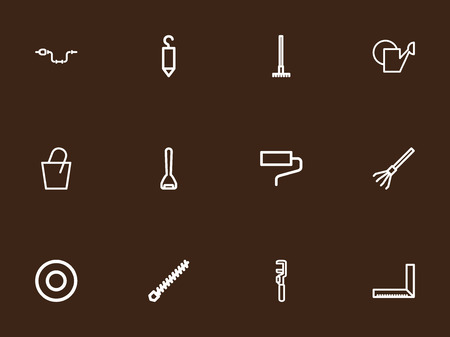 Set Of 12 Editable Tools Outline Icons. Includes Symbols Such As Pail, Harrow, Key And More. Can Be Used For Web, Mobile, UI And Infographic Design.