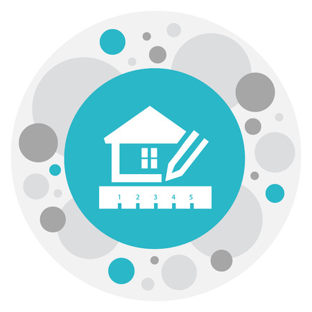 Vector Illustration Of Building Symbol On House Planning Icon. Premium Quality Isolated Home Scheduling Element In Trendy Flat Style.