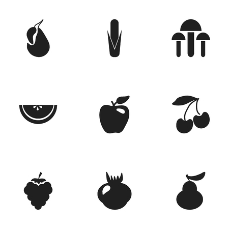 Set Of 9 Editable Dessert Icons. Includes Symbols Such As Maize, Grape, Avocado And More. Can Be Used For Web, Mobile, UI And Infographic Design.