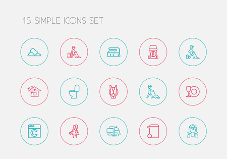 Set Of 15 Editable Cleaning Outline Icons. Includes Symbols Such As Trash Can, Dishes, Brooming And More. Can Be Used For Web, Mobile, UI And Infographic Design.