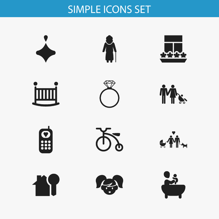 Set Of 12 Editable Folks Icons. Includes Symbols Such As House Key, Tub, Daughter And More. Can Be Used For Web, Mobile, UI And Infographic Design.
