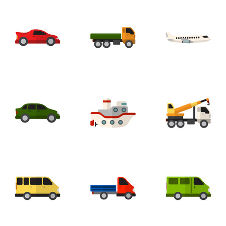 Set Of 9 Editable Vehicle Flat Icons. Includes Symbols Such As Truck, Van, Carriage And More. Can Be Used For Web, Mobile, UI And Infographic Design. Illustration