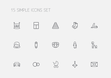 Set Of 15 Editable Folks Outline Icons. Includes Symbols Such As Rings, Gyroscope, Affection Letter And More. Can Be Used For Web, Mobile, UI And Infographic Design.