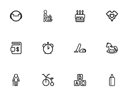 Set Of 12 Editable Family Outline Icons. Includes Symbols Such As Grandpa, Pony, Velocipede. Can Be Used For Web, Mobile, UI And Infographic Design.