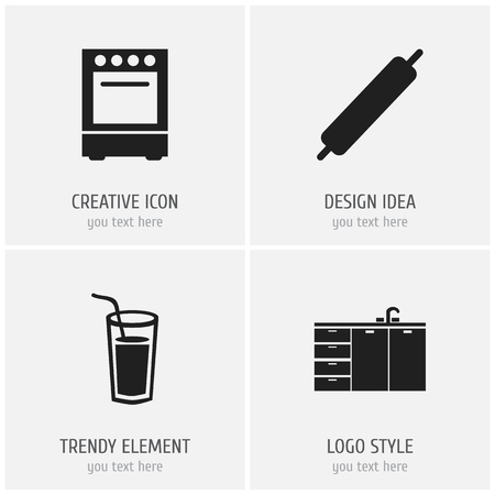 Set Of 4 Editable Cook Icons. Vettoriali