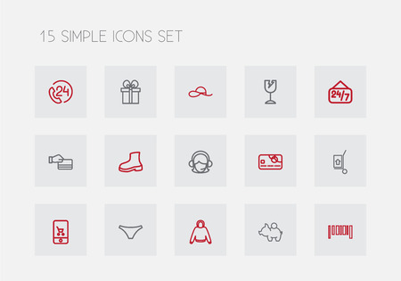 Set Of 15 Editable Business Outline Icons. Includes Symbols Such As Bonnet, Gift, Hand Cart. Can Be Used For Web, Mobile, UI And Infographic Design.