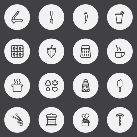 Set Of 16 Editable Cooking Outline Icons.