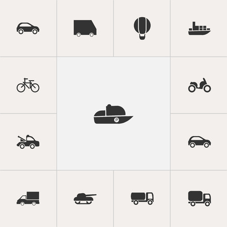 Set Of 13 Editable Transport Icons. Includes Symbols Such As Auto, Airship, Service Car And More. Can Be Used For Web, Mobile, UI And Infographic Design. Illustration