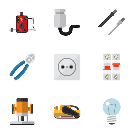 Set Of 9 Editable Electrical Flat Icons. Includes Symbols Such As Soldering, Nipper, Cutting And More. Can Be Used For Web, Mobile, UI And Infographic Design.