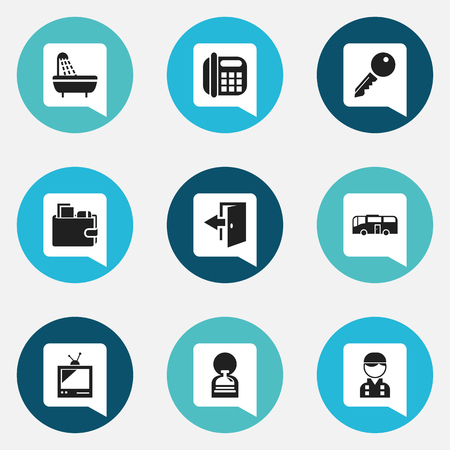 Set Of 9 Editable Hotel Icons. Incluye símbolos tales como empleados, transporte, conserje y más. Se puede usar para diseño web, móvil, de interfaz de usuario y de infografía. Foto de archivo - 90944377