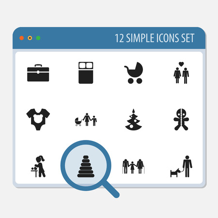 Set Of 12 Editable Folks Icons. Includes Symbols Such As Wizard, Perambulator, Family And More. Can Be Used For Web, Mobile, UI And Infographic Design.