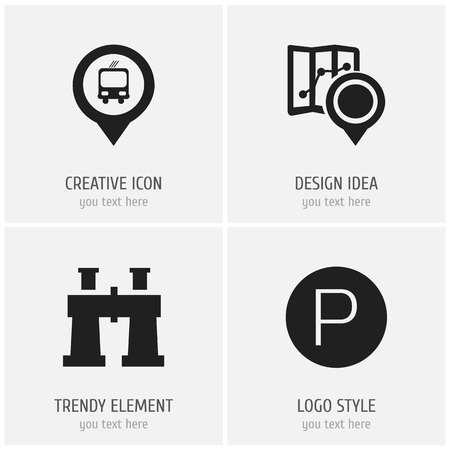 Set Of 4 Editable Location Icons. Includes Symbols Such As Spyglass, Road Sign, Gps And More. Can Be Used For Web, Mobile, UI And Infographic Design.