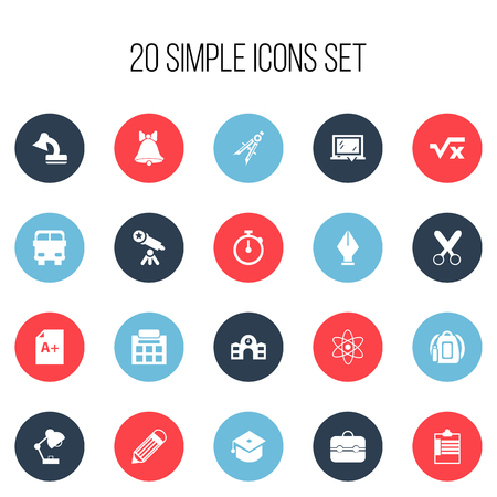 Set Of 20 Editable Knowledge Icons. Includes Symbols Such As Supervision List, Lighting, Backpack And More. Can Be Used For Web, Mobile, UI And Infographic Design.