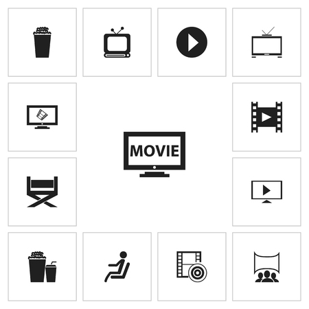 Set Of 13 Editable Movie Icons. Includes Symbols Such As Popcorn, Display, Camera Strip And More. Can Be Used For Web, Mobile, UI And Infographic Design.