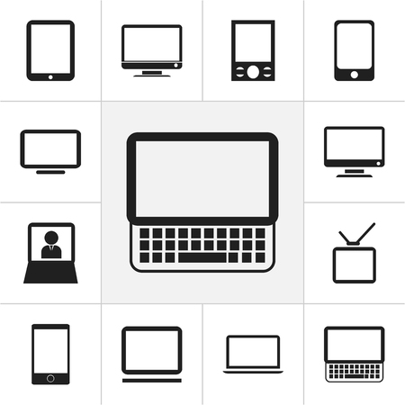 Set Of 12 Editable Instrument Icons. Includes Symbols Such As Television, Telly, Computer And More. Can Be Used For Web, Mobile, UI And Infographic Design.