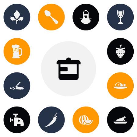 13 編集可能な食品のアイコンのセットです。スライス、唐辛子、果実などなどの記号が含まれます。Web、モバイル、UI、インフォ グラフィック デザ