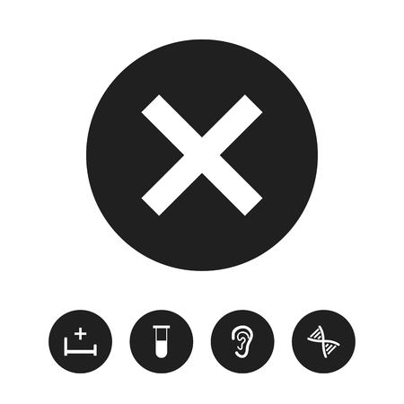 Set Of 5 Editable Health Icons. Includes Symbols Such As Analysis Container, Clinic Room, Genome And More. Can Be Used For Web, Mobile, UI And Infographic Design.