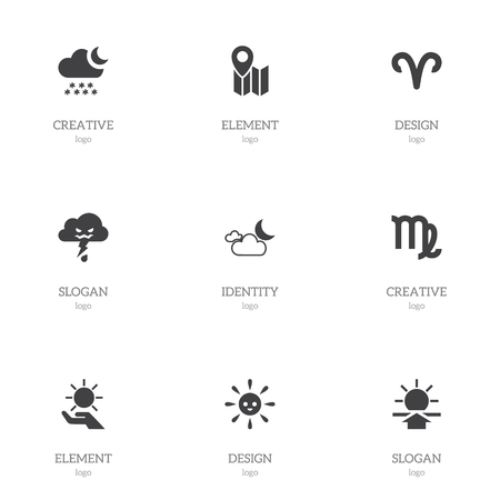 Set Of 9 Editable Air Icons. Includes Symbols Such As Virgin, Snowy Night, Laughing Solar And More. Can Be Used For Web, Mobile, UI And Infographic Design.