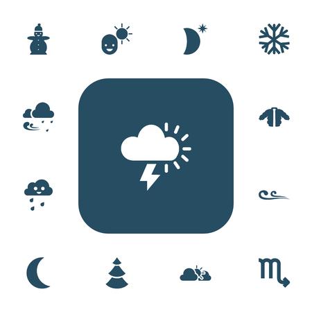 13 편집 가능한 기후 아이콘의 집합입니다. 남성, 동상, 외투 등의 기호가 포함됩니다. 웹, 모바일, UI 및 인포 그래픽 디자인에 사용할 수 있습니다.