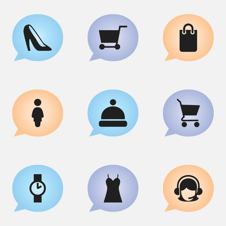 Set Of 9 Editable Business Icons. Includes Symbols Such As Shopping Bag, Stiletto, O Clock And More. Can Be Used For Web, Mobile, UI And Infographic Design.