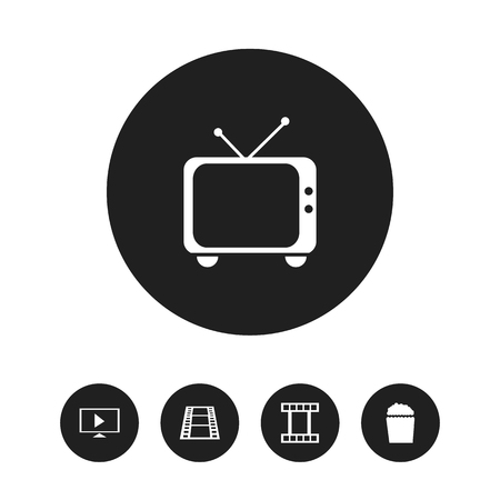 Set Of 5 Editable Movie Icons. Includes Symbols Such As Telly, Filmstrip, Camera Strip And More. Can Be Used For Web, Mobile, UI And Infographic Design.