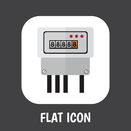 Vector Illustration Of Instruments Symbol On Current Meter Flat Icon. Premium Quality Isolated Electric Element In Trendy Flat Style. 向量圖像