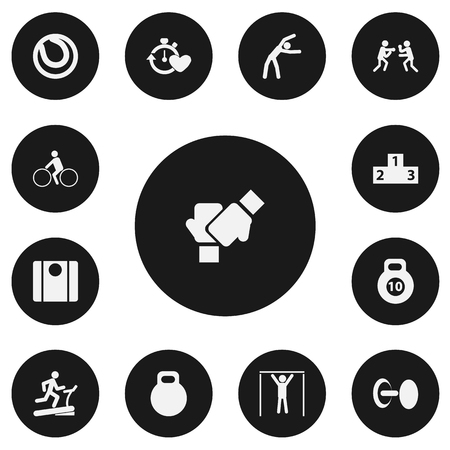 Set Of 13 Editable Active Icons. Includes Symbols Such As Bicycle Rider, Game Ball, Gauntlet And More. Can Be Used For Web, Mobile, UI And Infographic Design.