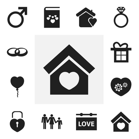 Set Of 12 Editable Heart Icons. Includes Symbols Such As Gift, Locked Heart, Lineage And More. Can Be Used For Web, Mobile, UI And Infographic Design. Illustration